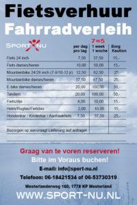 Prijzen fietsverhuur Sport Nu